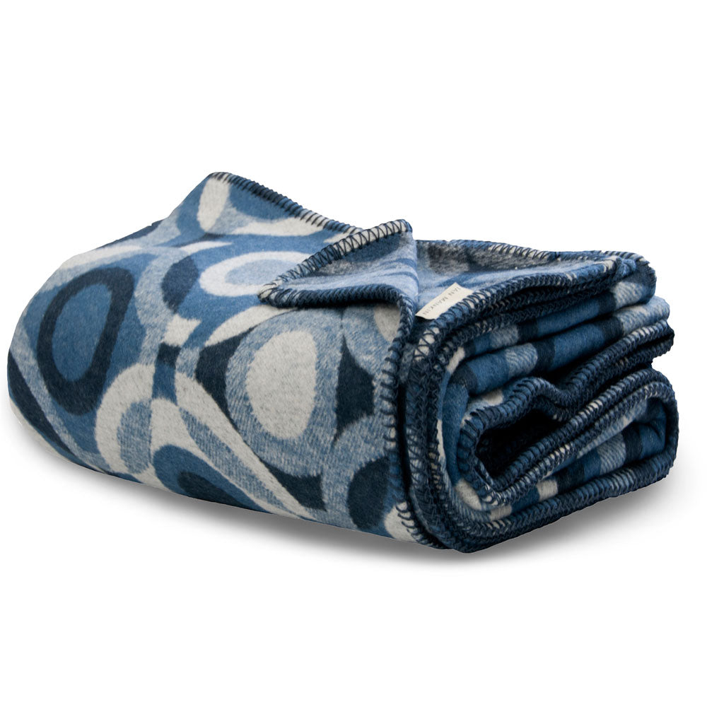 recycled cotton blanket throw blue