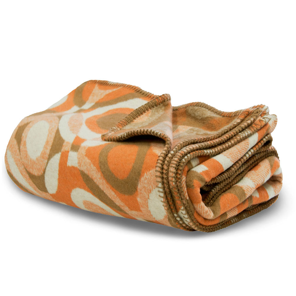 recycled cotton blanket throw orange