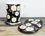 AMBER FLOWER Set of 4 Round Coasters