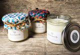 JUST LOVELY (Yellow berry fabric) Handmade scented jam jar candle