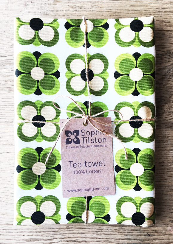 GREEN RETRO FLOWER Cotton tea towel