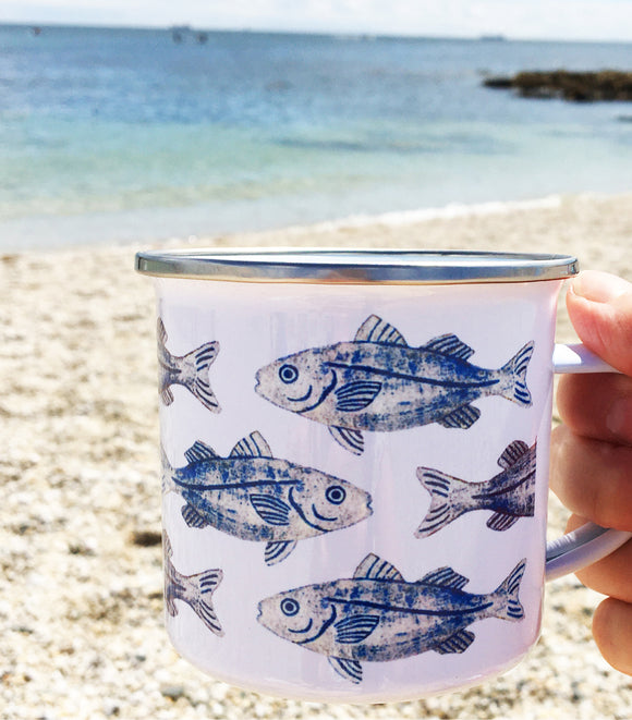 INK FISH Enamel Camping Mug