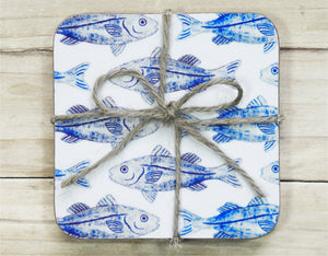 INK FISH Set of 4 coasters