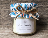 JUST LOVELY (Celeste fabric) Handmade scented jam jar candle