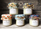 JUST LOVELY (Sweet berry fabric) Handmade scented jam jar candle