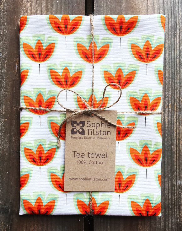 ORANGE TULIP Tea towel