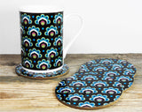 PEACOCK FLOWER Set of 4 Round Coasters