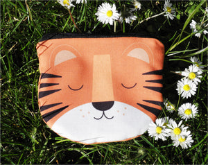 TIGER TIGER Coin purse - Hand printed & hand made tiger face shaped purse