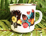 TROPICAL NIGHT Enamel Camping mug with dark tropical flowers
