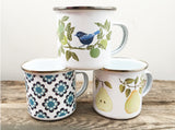 BLUEBIRDS & GREEN APPLES Enamel Camping mug