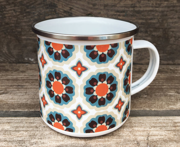 WALLPAPER FLOWERS - Enamel Camping mug