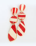 Buren 3 Solid Bright Red Light Red Ivory Earrings