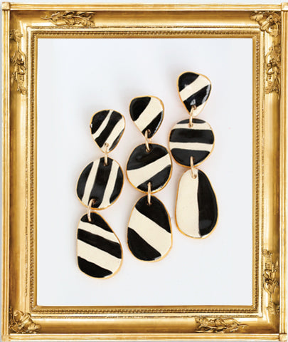 Buren 3  panel Black and White Earrings