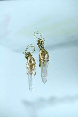 rock crystal spear earrings