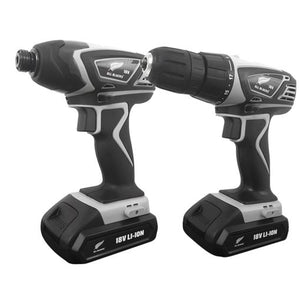 ALL BLACKS 2pc 18V Lithium-Ion Cordless Drill & Impact Driver Kit