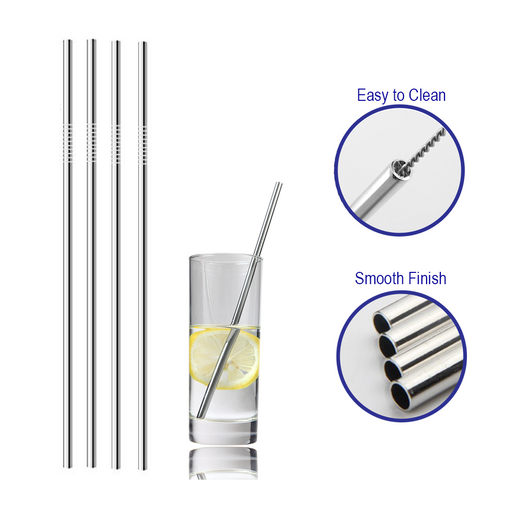 30 pack 8.5 inch stainless steel reusable metal straws -Portable food grade. Wholesale bulk straws.