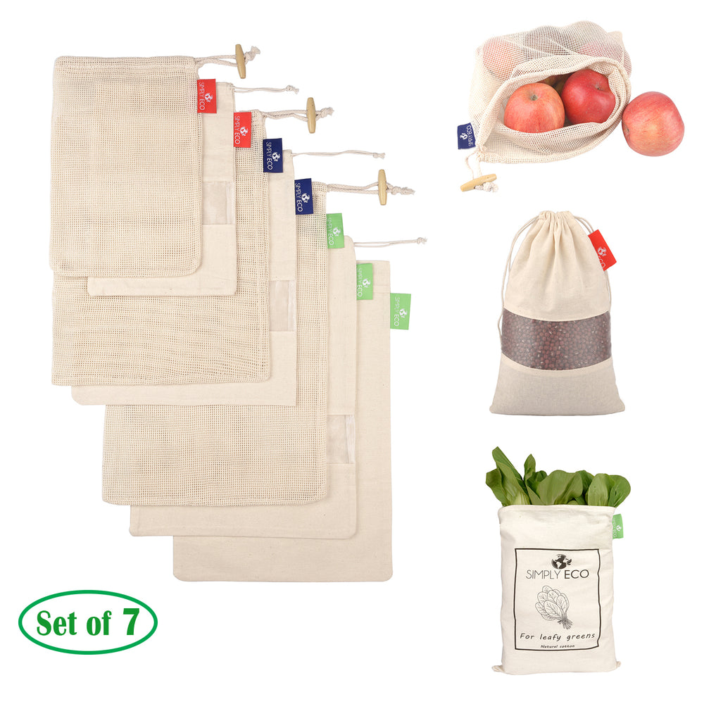 Cotton Reusable produace bags, Mesh with drawstring for fruits and veggies. 7 pcs. set