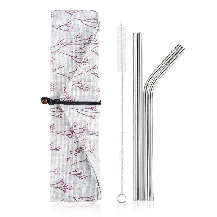 Simply Eco Stainless Steel Reusable Metal Straws (cherry)
