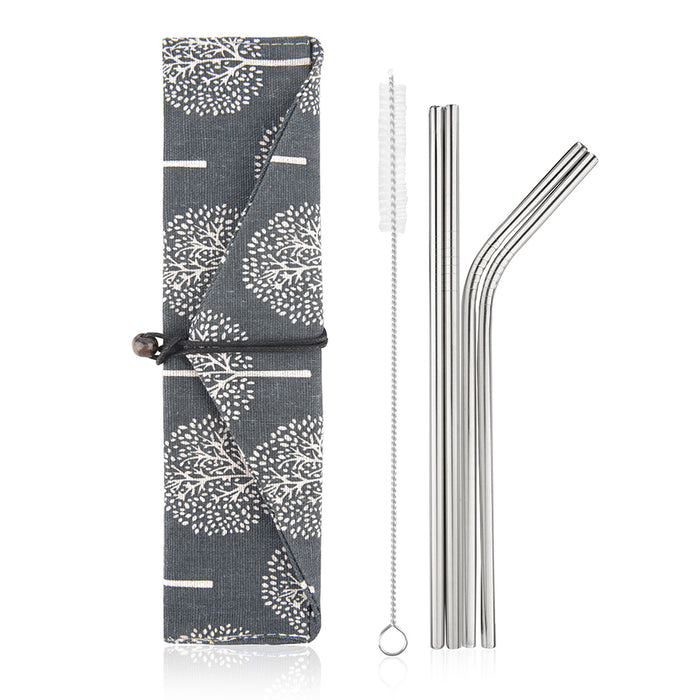 Simply Eco Stainless Steel Reusable Metal Straws (tree)