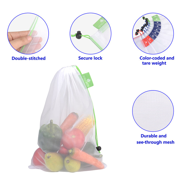 Reusable Produce Bags with Zero Waste, See-Through mesh Green Bags for Fruit and Veggies.