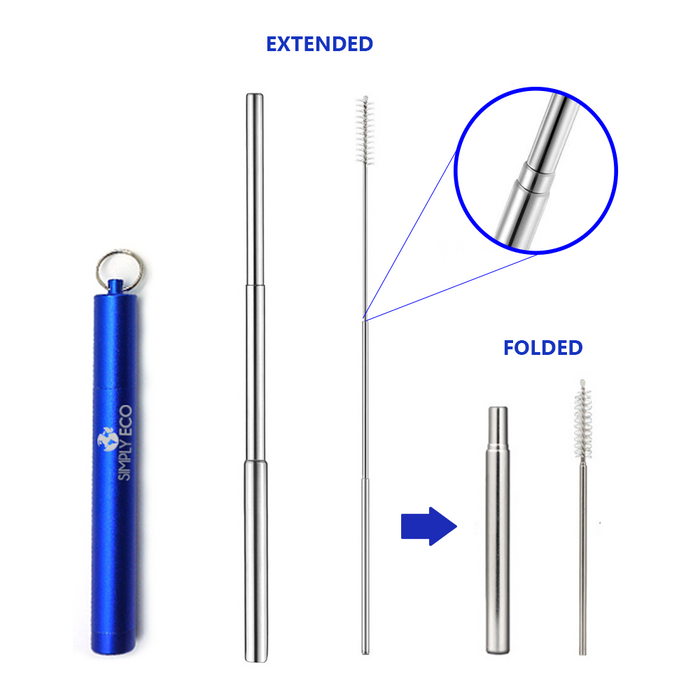 Collapsible keychain reusable metal stainless steel straws with case and foldable cleaning brush