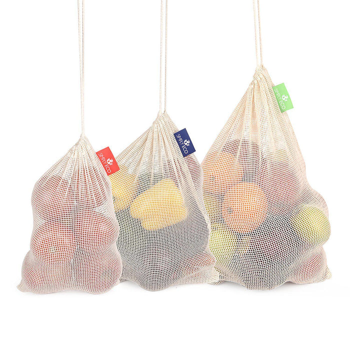 Cotton reusable produce bags with drawstring. Mesh green bags for fruits and veggies. 8 pcs. set.