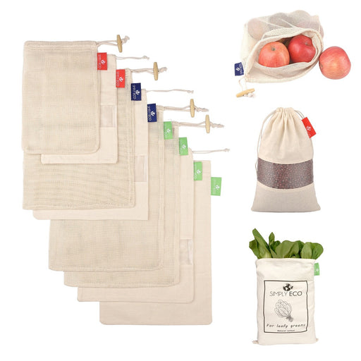 Cotton reusable produce bags with drawstring. Mesh green bags for fruits and veggies. 8 pcs. set.-Simply Eco Store