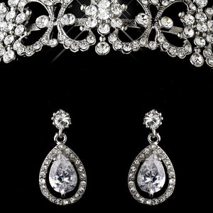 Antique Silver Clear CZ Crystal & Rhinestone Tiara Headpiece 9986 & Jewelry Set 8010