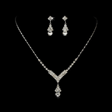 Silver Clear Crystal Drop Jewelry Set