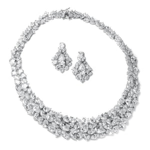 Mariell Ravishing Cubic Zirconia Statement Jewelry Necklace and Earrings Set for Weddings or Pageants