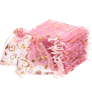 200 Pieces Wedding Heart Organza Bags Jewelry Gift Bags Sheer Drawstring Bags Pink Candy Pouch Heart Sheer Organza Pouches for Valentine's Day Wedding Favors, 3.9 x 4.7 Inches