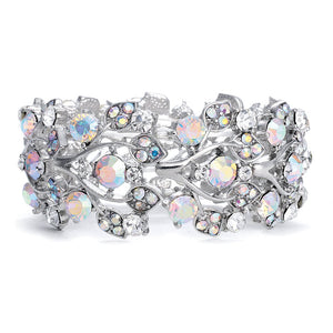 Mariell Aurora Borealis Crystal Stretch Bracelet - One Size Fits Most for Prom, Bridesmaids, and Weddings