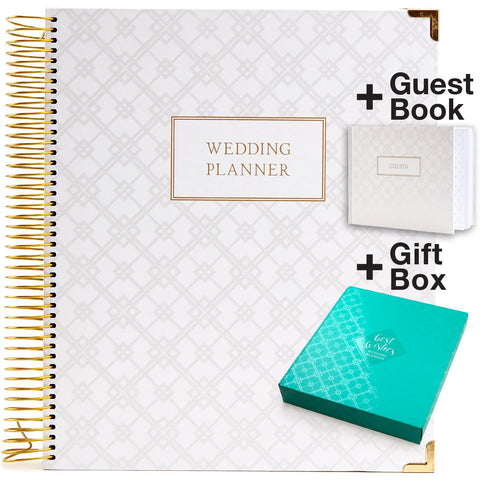 Wedding Planner Gift Set for The Bride to Be: 9x11 Hardcover Wedding Planner and Organizer, Gift Box, Guest Book, Clip-in Bookmark, Planning Stickers, Business Card Holder, and Pocket Folders (Gold)