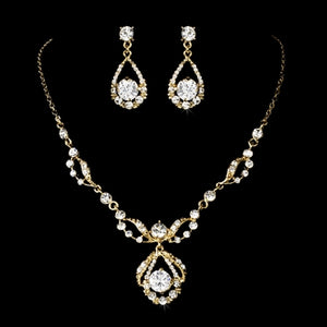 Silver Round Rhinestone Necklace & Earrings Bridal Jewelry Set 8265