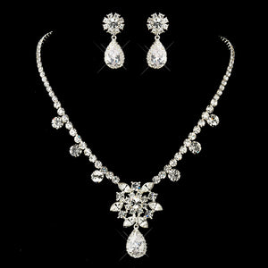 "Silver Clear ""Kim Kardashian"" Inspired CZ Crystal Necklace & Earrings Jewelry Set 1538"