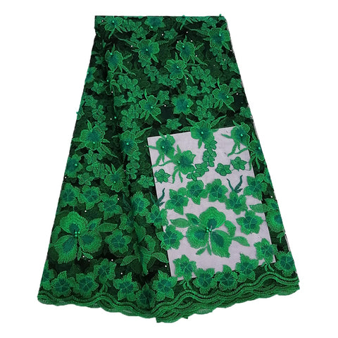 Green nigerian lace fabrics for wedding African French Tulle Lace fabric 2019 high quality african lace 5yards embroidered beads