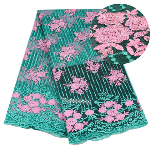 Green Pink French Net Lace Fabric Latest African Lace Fabric With Embroidery Mesh Tulle Lace Fabric High Quality Nigerian Lace