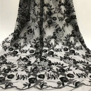 Beautiful Guipure Lace Fabric with sequins black African Cord Lace Fabrics 2019 Hot Sale Net Embroidery Lace For Wedding FfY710