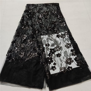 Quality African Lace Fabric Wholesale French black Lace Fabric with Sequins Embroidery Lace Fabric for Wedding Party