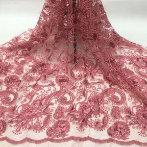 Unique African Wedding Pink Lace Fabric High Quality Embroidery Mesh Lace Nigerian Bridal Dress Lace Fabric