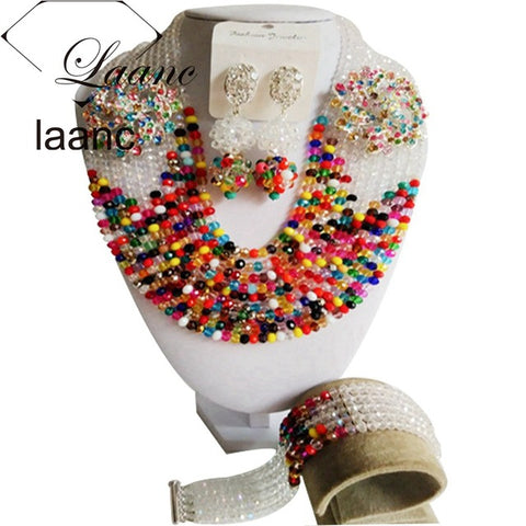 Fabulous Crystal Nigerian Traditional Wedding African Beads Jewelry Set Free Shipping ABD397
