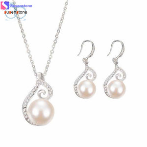 SUSENSTONE Women Bridal Imitation Simulated pearl Crystal Wedding Jewelry Set Necklace Earrings