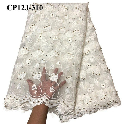 Swiss voile white laces African Lace Fabric Nigerian French Tulle Fabric  High Quality African bead Lace Fabric