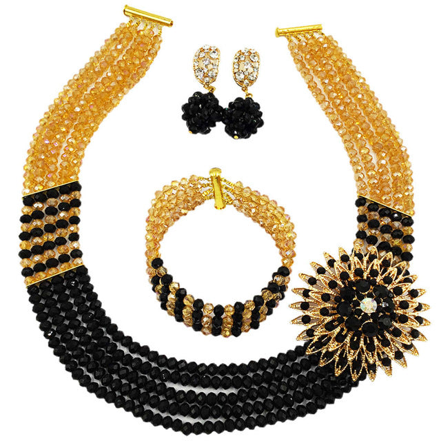e9d4f291895fa Fashion Nigerian Wedding African Beads Jewelry Set Crystal Necklace ...