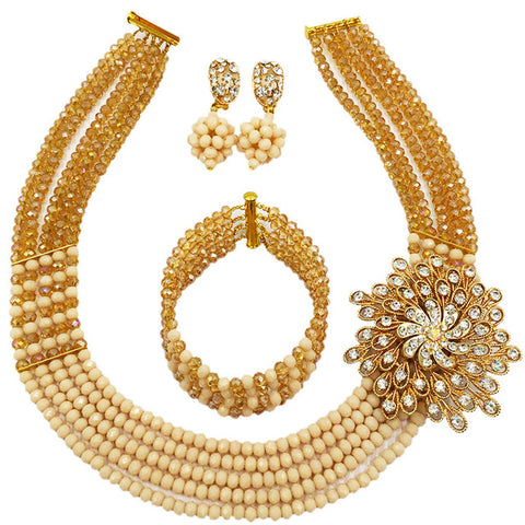 Fashion Nigerian Wedding African Beads Jewelry Set Crystal Necklace Bridal Party Jewelry Sets 5C-SXJB001