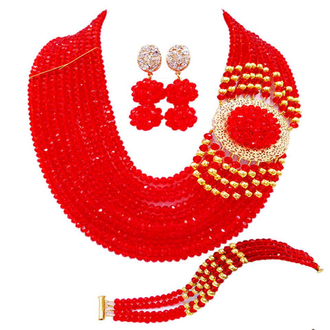 Best selling ! New Crystal Costume Nigerian African Wedding Beads Jewelry Necklaces Set NC1265 ( 20 Colors)