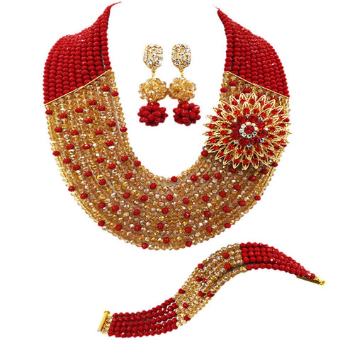 Fashion Red and Clear AB crystal necklaces set costume jewelry nigerian wedding african beads jewelry set JL001