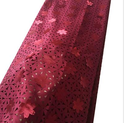 Lovely aso ebi laser cut 3D petal african lace fabrics with holes