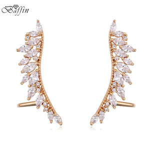 BAFFIN 2018 Fashion Wing Ear Cuff Cubic Zirconia Clip Earrings For Women Wedding Party Piercing Earrings Bijoux Mothers Gifts