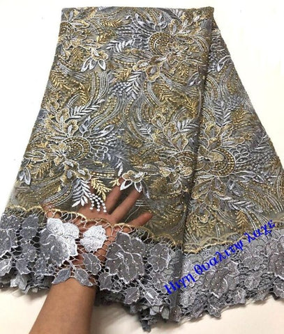 High Quality Embroidery African Lace Fabric Cord French Net Lace Tulle Nigerian Lace Fabrics Guipure Royal blue Lace A10--6
